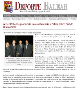 Artículo sobre la conferencia del Dr. Javier Ceballos sobre el Patrimonio Cultural de la cetrería en Palma de Mallorca